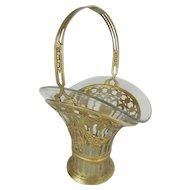Antique French Brass Handle Basket with Glass Liner ~ Beautiful Ornate Brass Basket with Tall Handle &  Glass Liner to Hold a Giant Bouquet of Your Garden Flowers