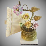 Charming Antique French Lamp with Porcelain Flowers ~  Gilt Metal Stem & Leaves Coming from A Woven Wire Basket with Porcelain Flowers ~ The Lamp is resting on a White marble Base & A  Pretty Silk Shade