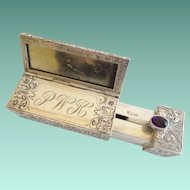 RARE Antique 800 Silver Italian Jeweled Mirrored Lipstick Case  ~ Lovely Purple Gem - STAMPED &  Monogramed P W K