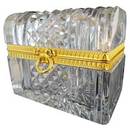 Antique French Cut Crystal Dome Top Casket Hinged Box ~ Beautiful Ornate Mounts, Wreath & Bow Clasp