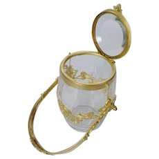 Beautiful Antique Empire Style Crystal Hinged Box with a Handle ~ Fabulous French Gilt Ormolu Circling the Crystal Hinged Box ~  The Box has a Flip Up Beveled Top & A Beautiful Ornate Handle