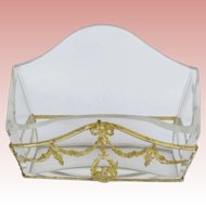 STUNNING Antique French Empire Crystal & Bronze Letter Holder ~ Gilt Ormolu Swags, Bird and Bow. A BEAUTY!