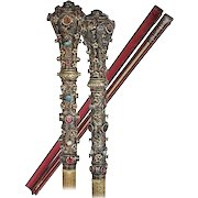 Antique Austro-Hungarian Silver Jeweled Parade Riding Crop. Beautiful Gems of Turquoise Cabochons, Faceted Cut Garnets…A RARITY!