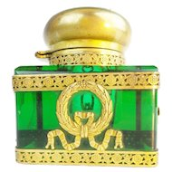Antique French Empire Large Green Inkwell Wrapped in Gilt Ormolu Figure's &  Bow ~ Extra Large Dome Gilt Metal Top ~