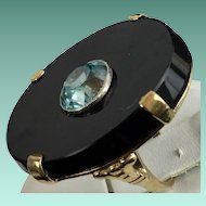 "Rare Vintage Estate 14KARAT Black Onyx  w Blue Zircon Ring "" SO ooooooooooooo WONDERFUL"""