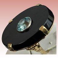 """Rare Vintage Estate 14KARAT Black Onyx  w Blue Zircon Ring """" SO ooooooooooooo WONDERFUL"""""""