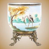 RARE Grandest Antique Porcelain Cachepot Jardinière ~ Fabulous Footed Ornate Bronze Base ~ A Pond Scene of Trees, Foliage, Ducks & an Egret ~