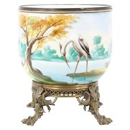 Grandest Antique Porcelain Cachepot Jardinière ~ Fabulous Footed Ornate Bronze Base ~ A Pond Scene of Trees, Foliage, Ducks & an Egret ~