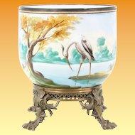 Grandest Antique Porcelain Cachepot Jardinière ~ Fabulous Footed Ornate Bronze Base ~ A Pond Scene of Trees, Foliage, Ducks & an Egret ~