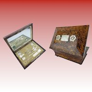 Spectacular Palais Royal Musical Sewing Etui Necessaire ~ Seven Mother of Pearl &  Crystal Pieces~