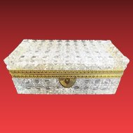"""Grandest Antique French Cut Crystal Glove Casket Hinged Box ~ A Glorious Size Cut Crystal with Ornate Gilt Mounts &  Fancy Mounts """"EXQUISITE CUT"""""""