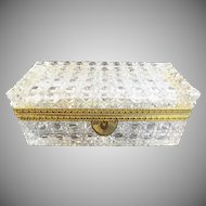 "Grandest Antique French Cut Crystal Glove Casket Hinged Box ~ A Glorious Size Cut Crystal with Ornate Gilt Mounts &  Fancy Mounts ""EXQUISITE CUT"""