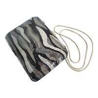 Judith Leiber Crystal Minaudiere  in Black, Silver, &  Gold
