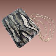 Amazing Vintage Estate Judith Leiber Crystal Minaudiere  in Black, Silver, &  Gold