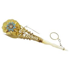 """Glorious French Jeweled Tussie Mussie Posey Holder Porte Bouquet """"TURQUOISE and PASTE  GEMS""""  ~  Very Fine Turoquoise  & French Paste Gems with Original Pin & Finger Ring"""