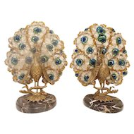 RAREST! PAIR Czechoslovakian Peacock Lamps ~  A Fabulous Pair! Left & Right Matching Peacocks on Beautiful Marble Plinths ~  Good Safe Wiring  Ready to Plug in &  Luv!