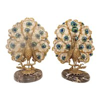 PAIR Czechoslovakian Peacock Lamps ~  A Fabulous Pair! Left & Right Matching Peacocks on Beautiful Marble Plinths ~  Good Safe Wiring  Ready to Plug in &  Luv!