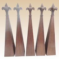 """5 Antique Gothic Style 23"""" Architectural Spires """" Executed in Mahogany """"  GRANDEST SIZE"""