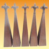 "5 Antique Gothic Style 23"" Architectural Spires "" Executed in Mahogany ""  GRANDEST SIZE"