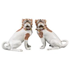 PAIR Antique Carl Thieme Dresden Porcelain Pugs  ~  Beautiful Bells &  Pink Bow Collar ~  Pair… A Matching Male & Female Pugs.