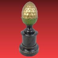 "14"" Antique Gilt Bronze Finial Newel Post "" Beautiful Acorn Shape""  ~ Gilt  Bronze Finial Newel Post with Paint Enamel Metal Base~ 7 ½"" Pounds"