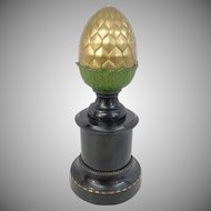 "14"" Antique Gilt Bronze Finial Newel Post "" Beautiful Acorn Shape""  ~ Gilt  Bronze Finial Newel Post with Paint Enamel Metal Base~ 7 ½"" Pounds"