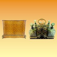 Grandest Antique French Parquetry &  Gilt Bronze  Cave de Liqueur TANTALUS  ~ RARE Green Glasses & Decanters  ~