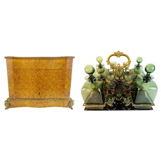 Grandest Antique French Parquetry &  Gilt Bronze  Cave de Liqueur TANTALUS  ~ RARE Green Glasses & Decanters  ~