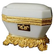 "Exquisite Antique Baccarat White Opaline Casket. ~ Magnificent White Opaline ~  ""The Most Wonderful Dore' Bronze Base & Mounts"""