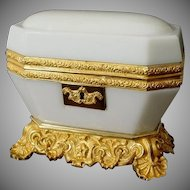 "Exquisite Antique Baccarat White Opaline Casket. ~ Magnificent White Opaline ~  ""The Most Wonderful Dore' Bronze Base & Mounts"""