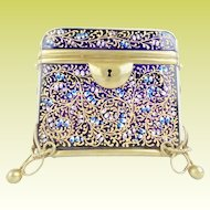 """Antique Moser Cobalt Casket Hinged Box with Double Handles ~ Spectacular  Hand Enameling & Exquisite Footed Base ~  """" A MOSER MASTERPIECE"""""""