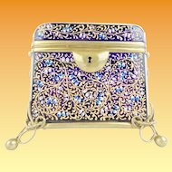 "Antique Moser Cobalt Casket Hinged Box with Double Handles ~ Spectacular  Hand Enameling & Exquisite Footed Base ~  "" A MOSER MASTERPIECE"""