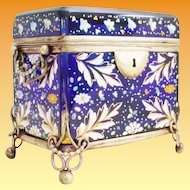 Antique Moser Cobalt Casket Hinged Box ~ Rare Moser Cobalt Glass with Heavy Enamel Leaves, Flowers &  Lots of Gilding. ~ Spectacular Casket has the Trademark Moser Gilt Ormolu Double Handles & Base