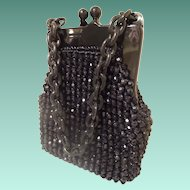 1960 Italian Black Beaded Purse Marked for JANA ~ Wonderful Condition.~ A BEAUTY