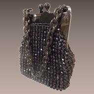 1960 Italian Black Beaded Purse Marked for JANA ~ Wonderful Condition.~ A BEAUTY