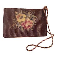 """Charming Antique Needlepoint """"FLOWERS"""" Door Stop. ~ Wood Wedge Shape & Weighs 2 pounds ~"""