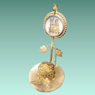 Grand Tour Eglomise Watch Holder  ~   A Charming Little Watch Holder Resting on an Alabaster Plinth ~