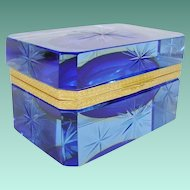 """FABULOUS Antique Blue Crystal Hinged Box ~ Awesome Deep Bright Blue with Beautiful Ornate Gilt Mounts &  Lift Clasp ~ """" A BEAUTY from My Treasure Vault"""""""