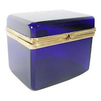 Antique French Cobalt Casket Hinged Box with Smooth Gilt Mounts & S Clasp