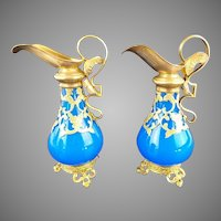 """19C Palais Royal  French Blue Scent Ewers ~ PAIR ~. EXQUISITE Gilt Ormolu Handle &  Footed Base """"Elaborate Gilt Ormolu & The BEST Bright Blue Opaline """"  Wonderful & Outstanding Condition"""