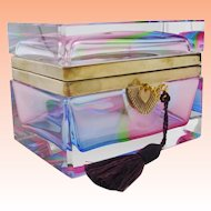 Glorious Antique French Rainbow Crystal Casket Hinged Box. ~ All the Colors Straight from the Rainbow & Gorgeous Thick Case Glass ~ Smooth Gilt Mounts & Original Working Key