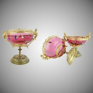 19C Antique Cranberry Hand Enamel Bowl  ~ Exquisite Gilt Bronze Mounts~ The Color, Enamel, & Mounts are Wonderful ~ A RARITY from My Treasure Vault.