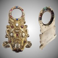 "19C  Jeweled Gilt Bronze Watch Holder ~ Beautiful Watch holder ~   Hold up to 1 ½"" Watch"