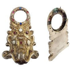 "19C  Jeweled Gilt Bronze Watch Holder ~ Beautiful Watch holder ~   Hold up to 1 ½"" Watch"