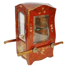 "Wonderful  19C Vernis Martin Style Miniature Sedan Chair or ""Chaise a Porteurs"" Vitrine   ~  A Rare Miniature has Beveled Glass Sides lights &  Beveled Glass Door ~ A Delightful Place for a Small Collection"