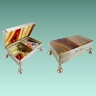 Antique Agate Stamp Trinket Box ~ Very Fine Agate Top and Bottom with Silver Mounts &  Four Ball Feet. ~ Twin Compartment s for Stamps or would be a Wonderful Pill Box