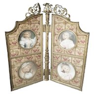 "Charming Antique Folding Table top Frame ""4 Miniature Portraits"" in Beautiful Flora Silk ~ An Exquisite Group of Four Ladies Portraits in the Grandest Silk & Ormolu Frame"