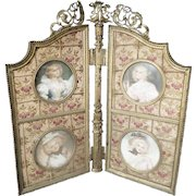 """Charming Antique Folding Table top Frame """"4 Miniature Portraits"""" in Beautiful Flora Silk ~ An Exquisite Group of Four Ladies Portraits in the Grandest Silk & Ormolu Frame"""
