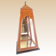 Antique Painted Miniature Lighted Mirror Display Vitrine Table Cabinet ~ Painted Red with Black Base