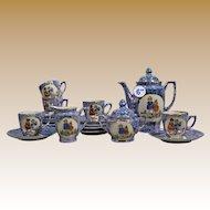"Antique German Child's Tea Set ~ A Darling Tea Set in Mottled Blue & Purple "" Scenes of Children & Animals""  ~  6"" Teapot, Creamer, Sugar, 6 Cups,  6 Saucers &  6   4 ¾"" Desert Plates ~ SO Adorable!"